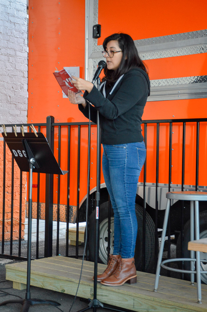 Laura Villareal reading for the event.