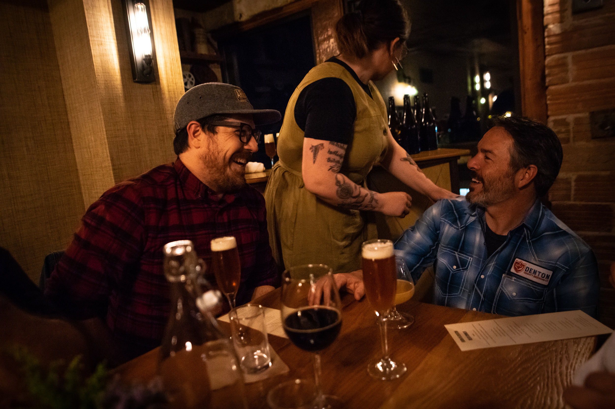 Seth Morgan and Bobby Mullins share a laugh during the course of the successful and decadent beer dinner.