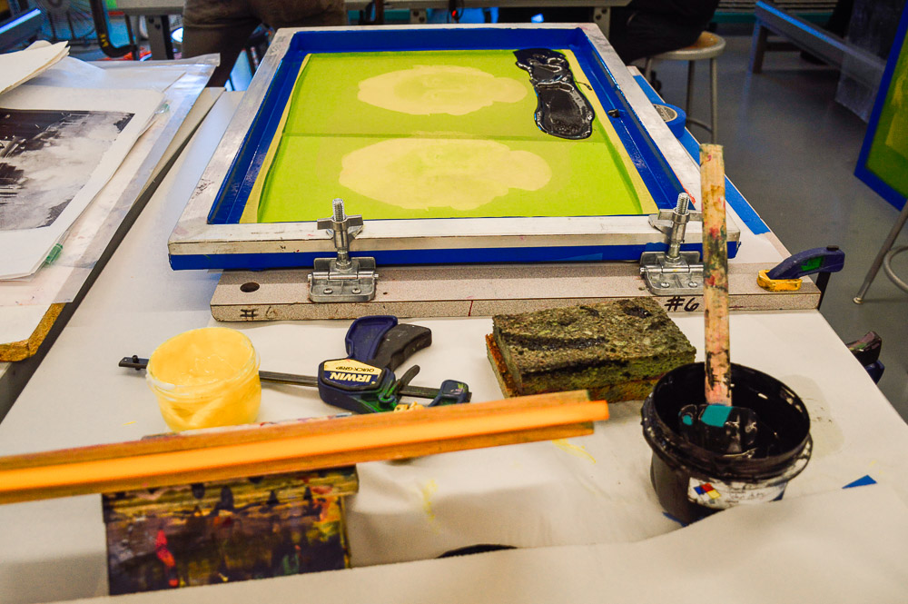 """My main printmaking process right now is screen printing. Screen printing is super accessible and a lot safer than other printmaking processes, so it works for me (and I think for a lot of other people too)."""