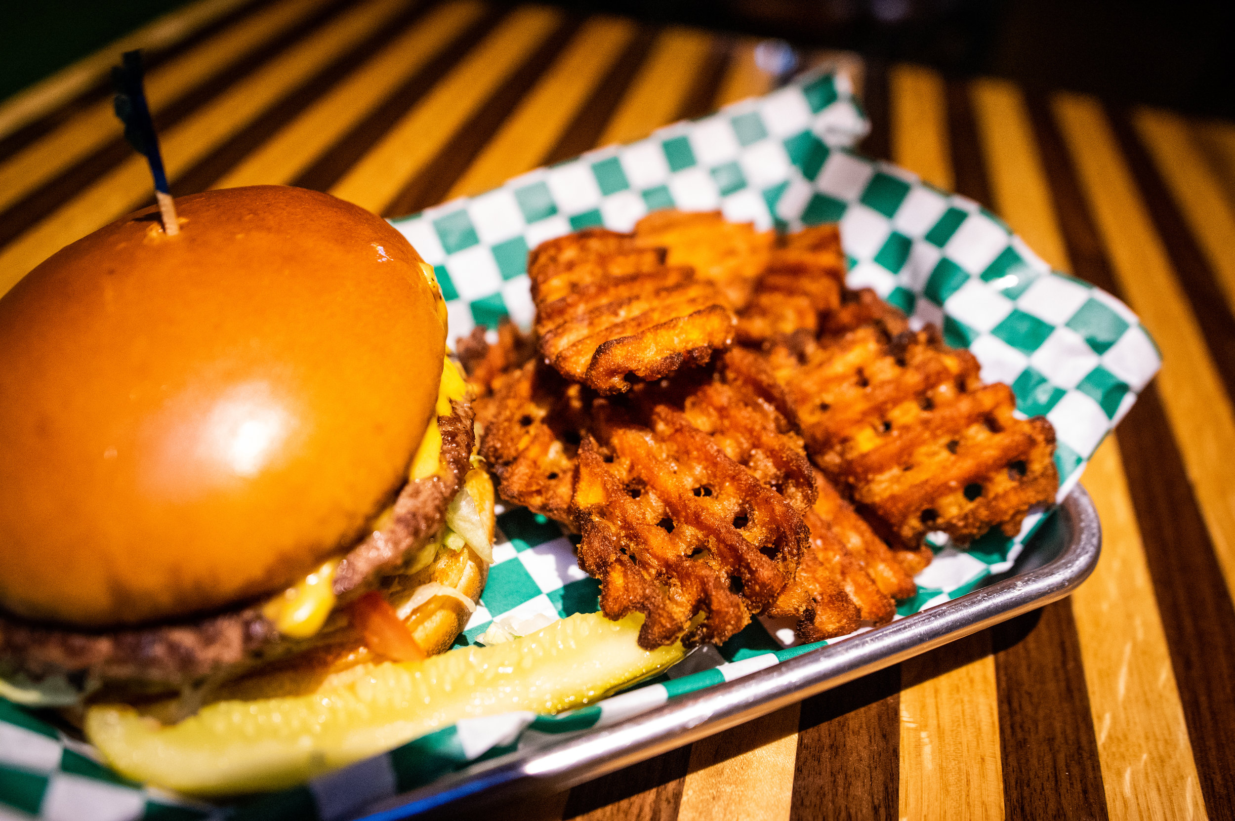 Close-up of the accompanying sweet-potato waffle fries that come with the Rip's Burger.