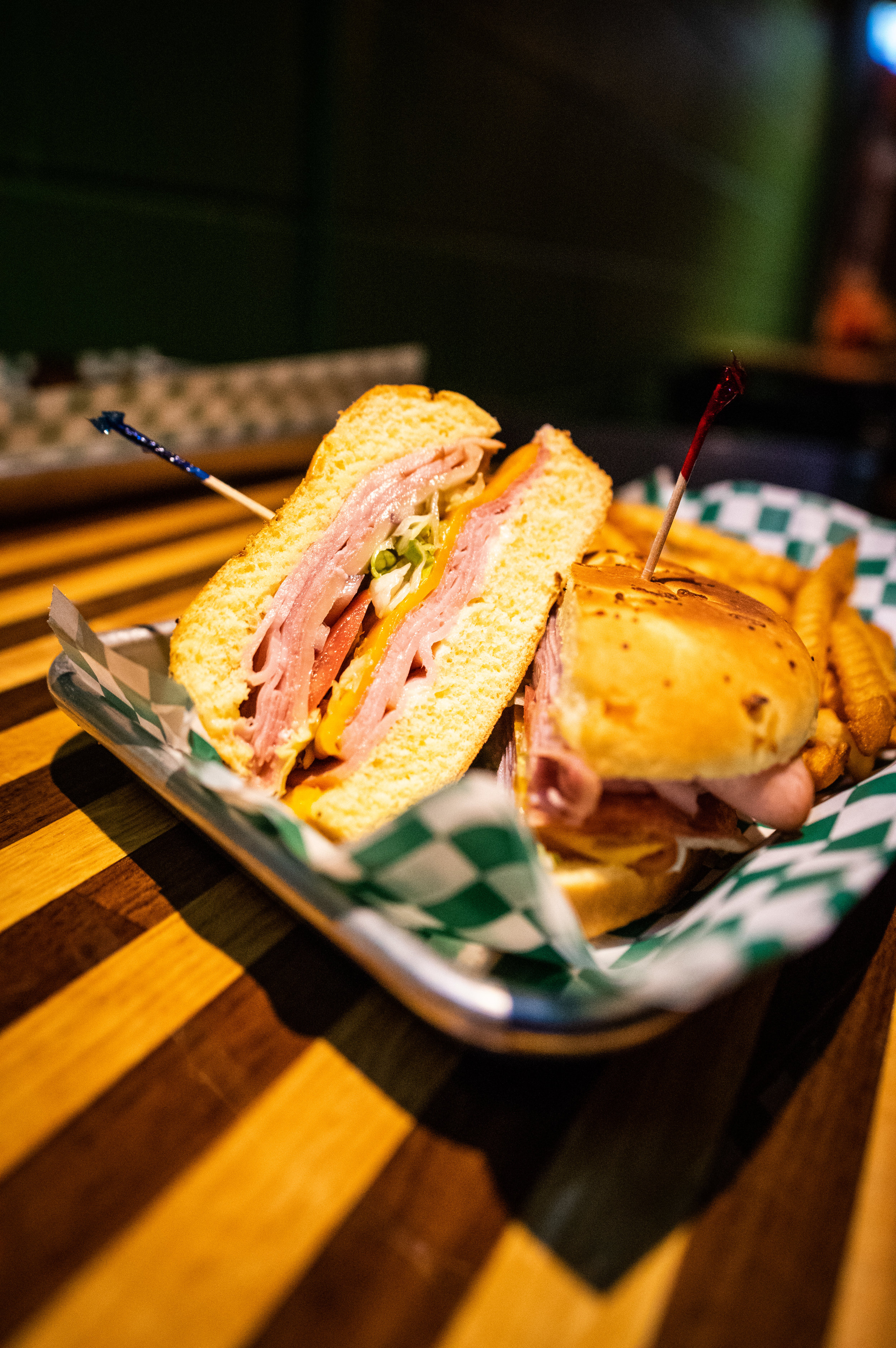 Close-up of the cross section of Rip's Favorite Delight - a light deli-club style sandwich.