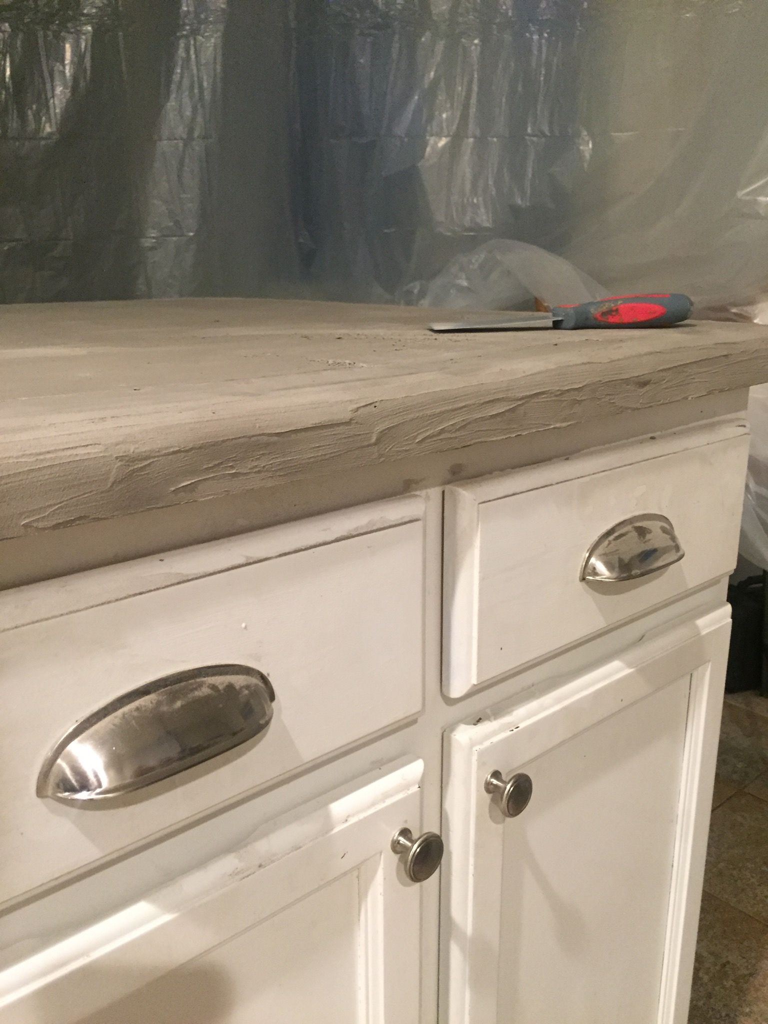 DIY Concrete counters before and after