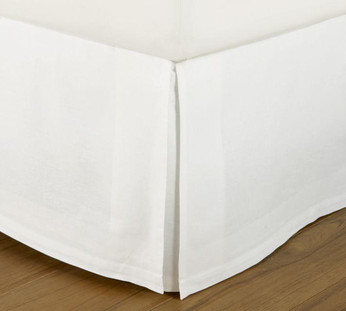 "PB Essential Cotten & Linen Bedskirt, 14"" - White - Pottery Barn"