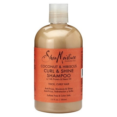Shea Moisture's Coconut and Hibiscus Curl and Shine Shampoo with Silk Protein and Neem Oil. Photo Credit: www.target.com