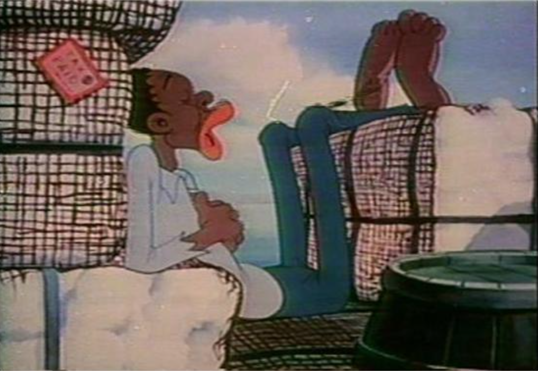 Blacks were depicted as lazy in several caricatures and cartoons.