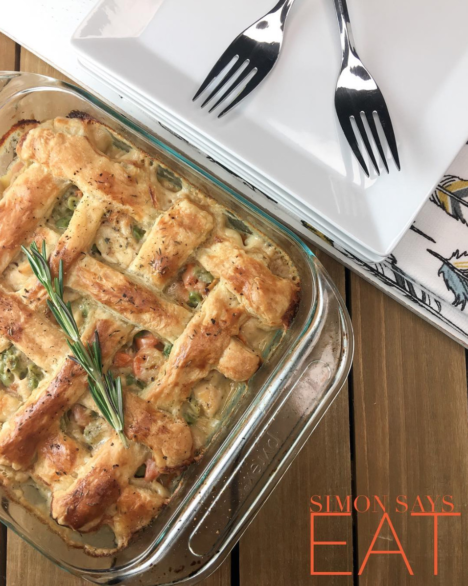 Chicken Pot Pie with puff pastry
