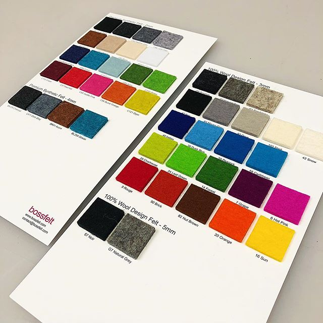 Our updated swatch cards with  lots of new felt colors! .. .. .. #woolfelt #felt #swatch #sample #production #productdesign #oakland #bayarea