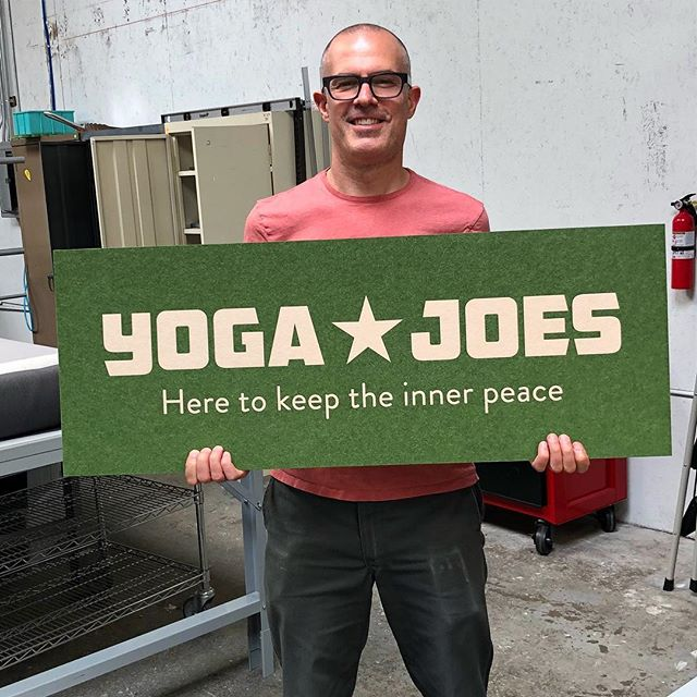 Josh has been perfecting the art of felt sign making! This sign for @yogajoes was made by laser cutting our premium synthetic felt in two colors, then inlaying the pieces together before adhering it to an acrylic backer plate. Namaste! 🙏 .. .. .. .. .. ..#signmaking #felt #signage #signagedesign #oakland #bayarea #makersgonnamake