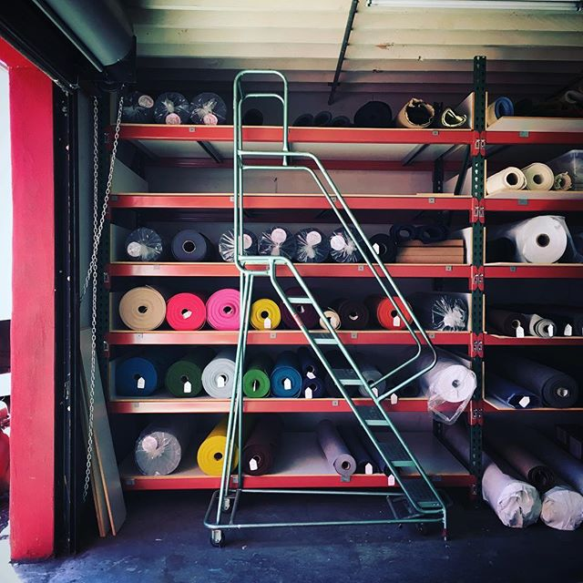 Stacking it up! New space means MORE space for our felt... We're looking at a late September open studio, so sign up for our newsletter to get all the details! Link in profile #naturallight #designfelt #woolfelt #oaklandsmallbusiness #bossfelt
