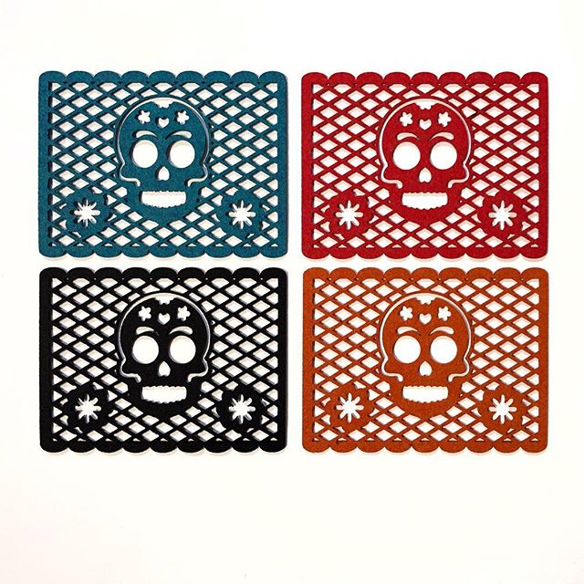 With our colorful and amazing designer synthetic felt, @projectsqueeble designed these gorgeous papel picado skulls that we laser cut in house! #papelpicado #dayofthedead #lasercut #makersgonnamake