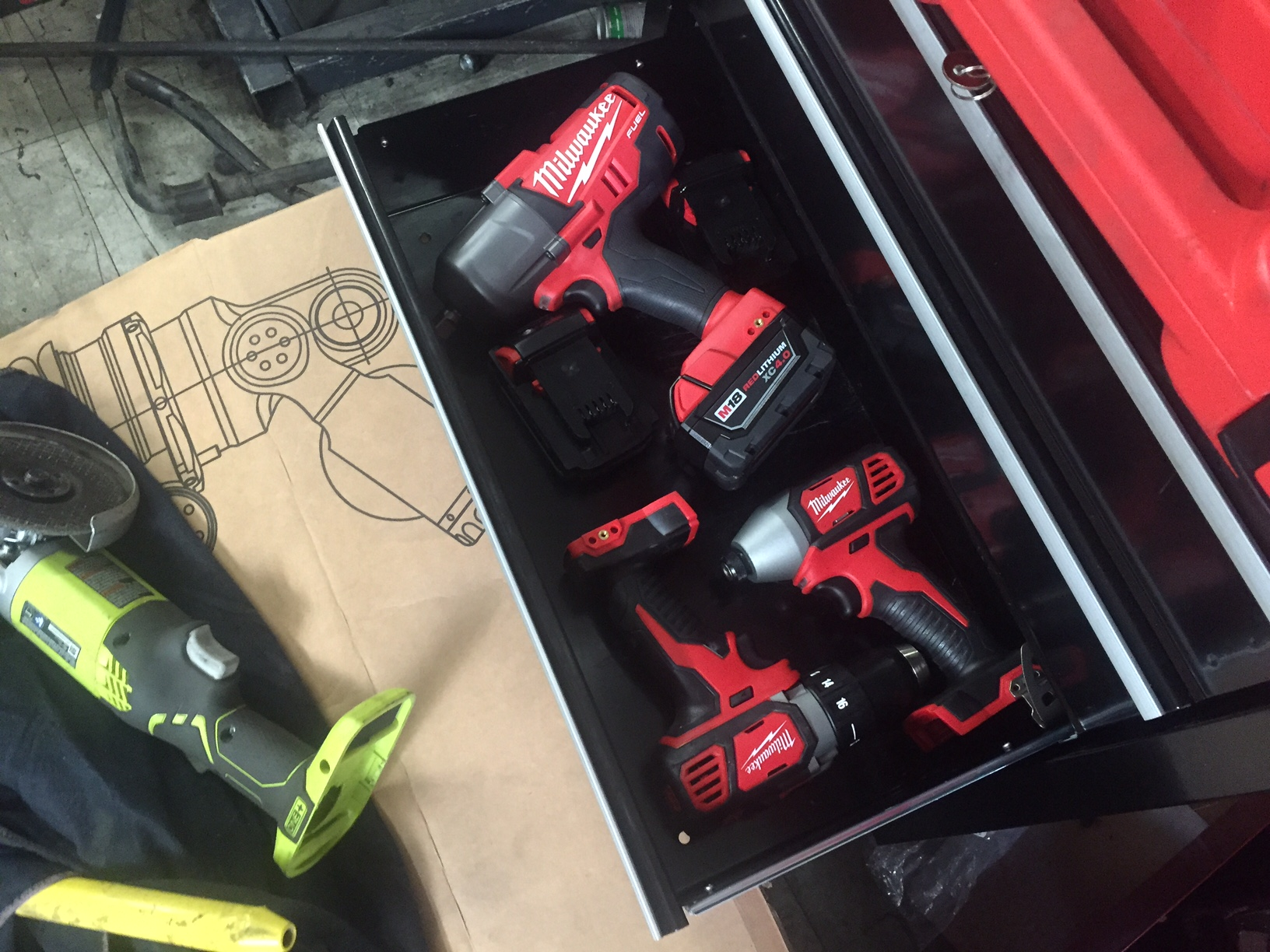 "My new M18 goodies ended up evicting the remnants of the Ryobi 18V clan from my ""electric tools"" drawer."