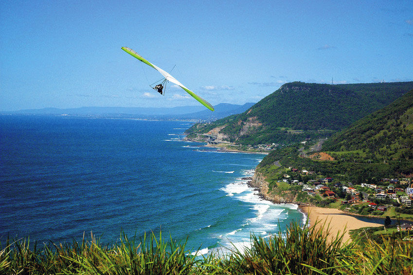 Hang glider with sweeping coastline views at Stanwell Park - Image Credit:Image Tourism Illawarra