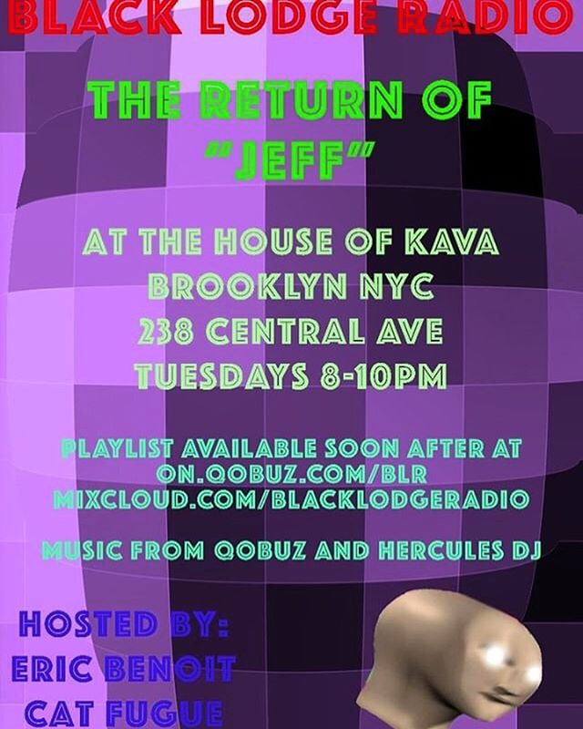 Tonight! We! Celebrate! THEE! RETURN! OF! @jeffhollandisalive!!!! Come by the bar tonight n indulge in some yummy kava/kratom cocktails and even yummier dark experimental music with this week's Black Lodge Radio - now a live weekly DJ set.  Can't make it? Catch the week's playlist at @qobuzusa or @mixcloud. 🎵 Presented by @ben.wht and @jeffhollandisalive 😈 🎵 🎶 🎵 🎶 🎵 🎶 🎵 #kratomlife #kava #kavacommunity #kratomsaveslives #kavabar #bushwick #bushwickbar #brooklyn #brooklynbar #houseofkava #nyc #openmic #nycopenmic #openmicbrooklyn #positivevibes #bartenderlife #goodvibes #monday #mondaymotivation #bushwickartist #bushwickartists #blacklodgeradio #broadcastinglive #music #musicshow