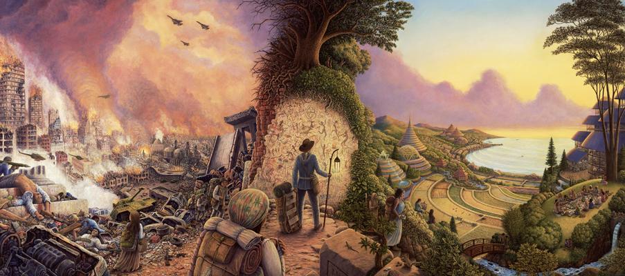 """New Pioneers"" by artist Mark Henson.  http://markhensonart.com/welcome"