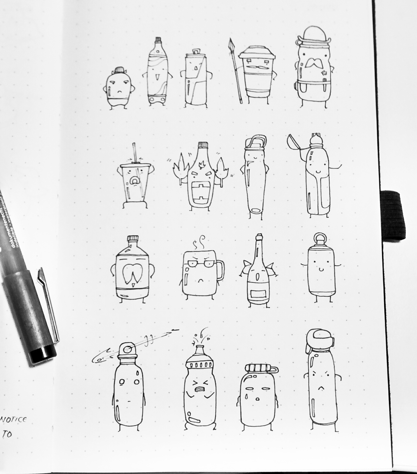 Observational sketches of bottles and drinks around campus