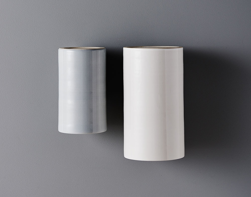 Earth Light regular size in Dove Grey and Earth Light large in Pure White