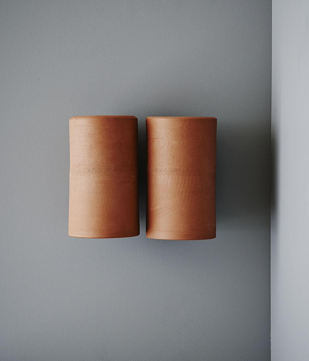 Earth Light regular size in Terracotta mounted side by side