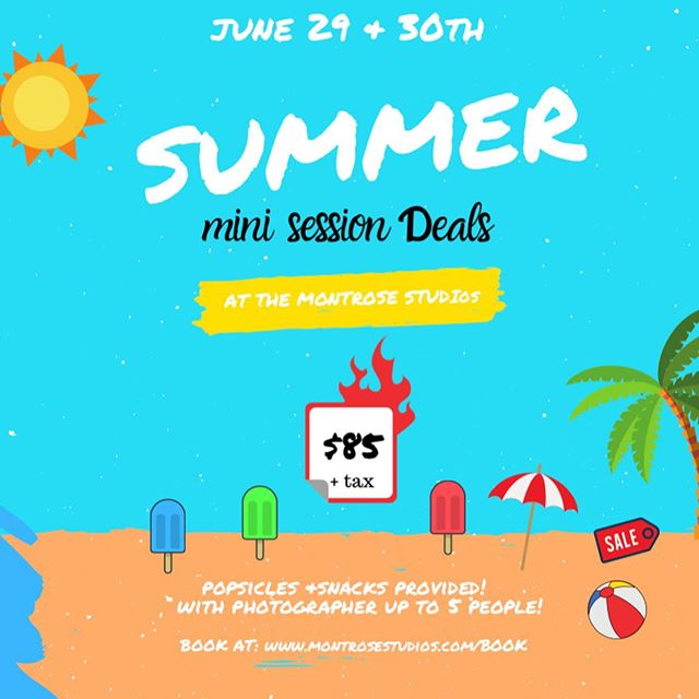 🔥 HOT SUMMER DEALS 🔥  SWIPE RIGHT for more details ✨ SUMMER MINI SESSIONS THIS COMING UP SATURDAY & SUNDAY! 20 min - 20-30 Digital files  INDOOR OR OUTDOOR  Upgrades Available! Book Online or contact us to book ! Shooting Includes all setups as time permits .