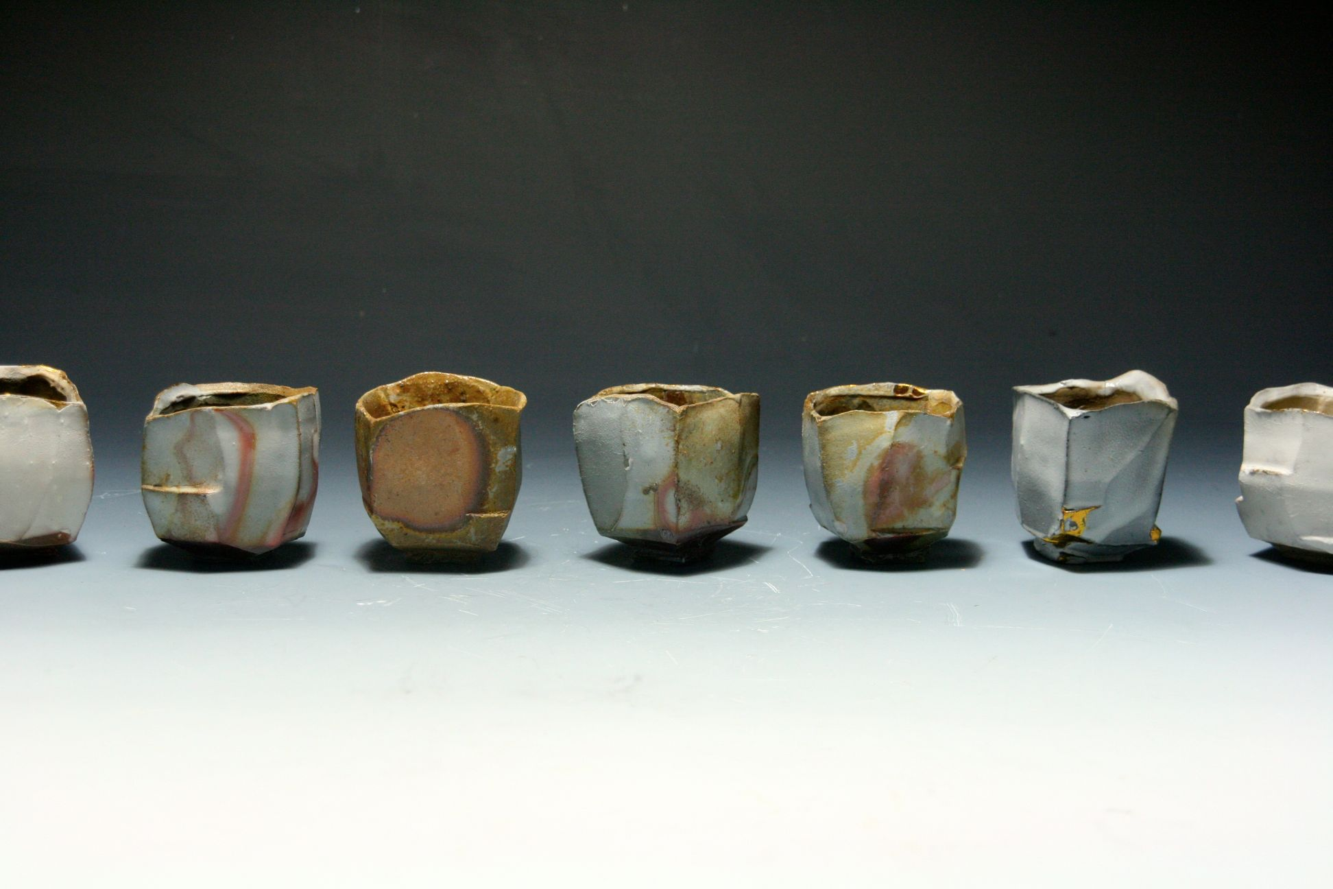 White Slip Faceted Cups