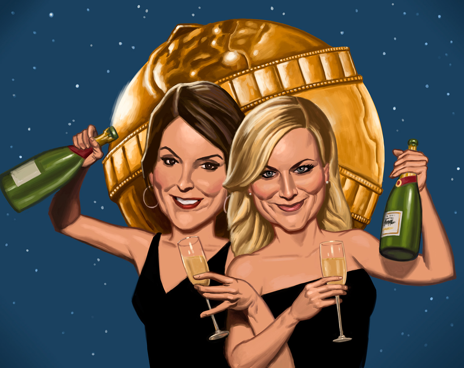 Tina Fey and Amy Poehler celebrate their last turn as hosts for the boozy Golden Globe awards