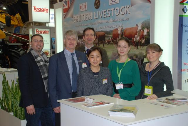 Pictured centre on the British Livestock stand are Edward Adamson (Northern Ireland NSA Regional Director) & Richard Saunders (BLG)