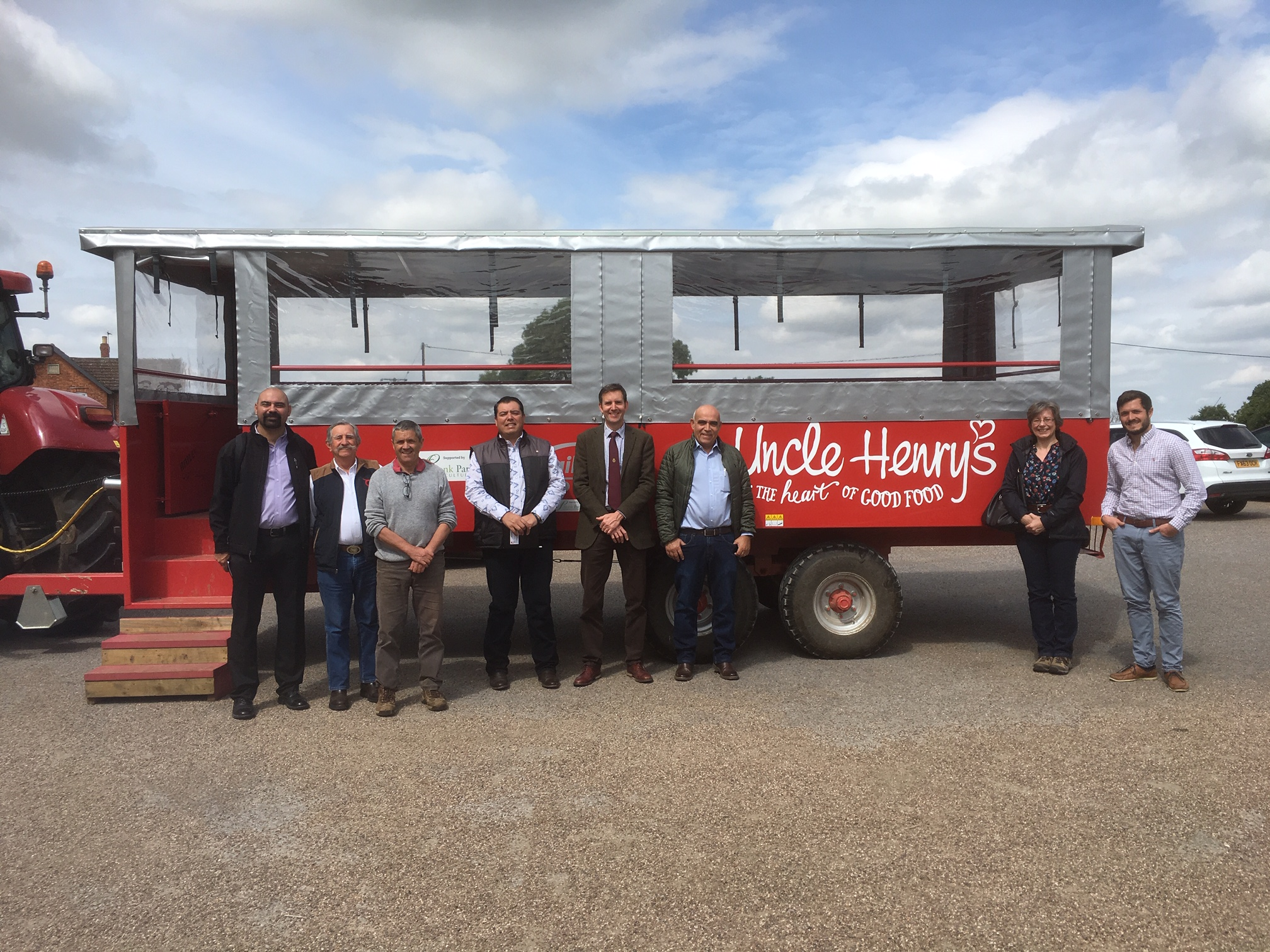 Mexican visitors pictured at Uncle Henry's Farm Shop, Grayingham, Lincs with Graham Ward