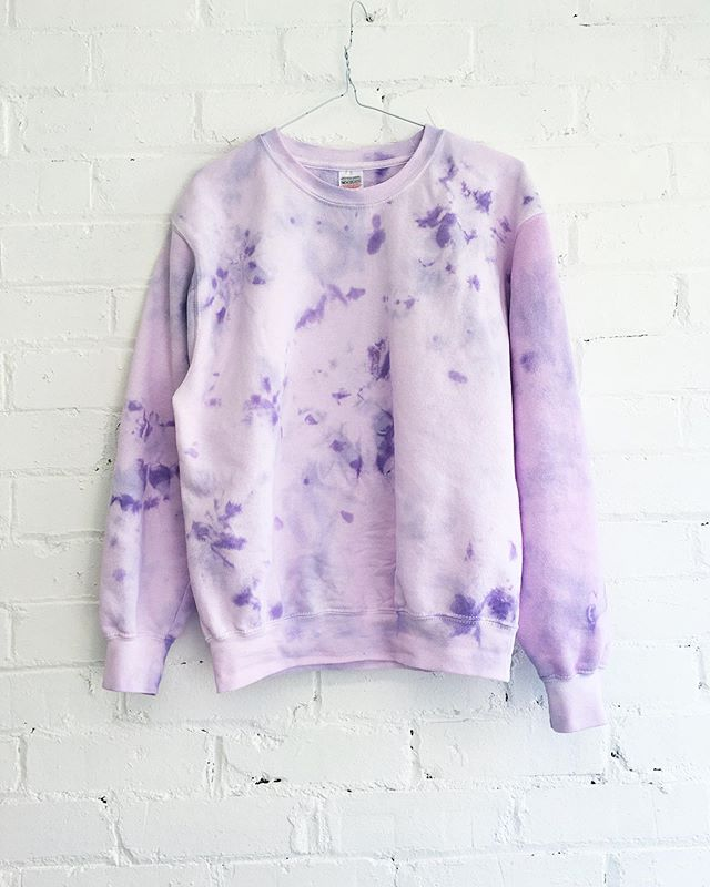 Pastel power!💜💜💜💜💜💜 our lilac tie dye sweatshirts are online now in all their pastel glory! I've been wearing mine all day.😘💜🤗