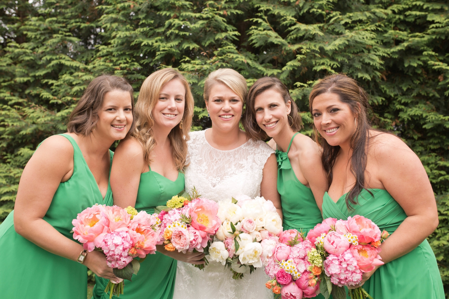 These bridesmaid dresses are all the same color, but all different designs. These are great if you have a bridal party with girls of all different shapes!