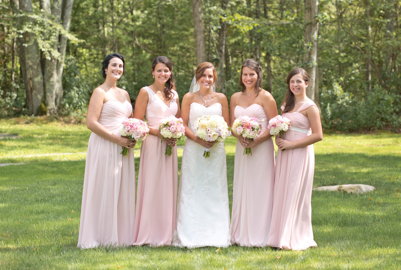 Blush pink in different shades and different dress. How pretty does this look?!