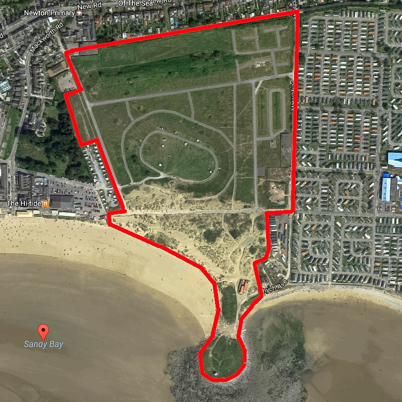 A Google Earth satellite image showing the confines of this documentary project in this forgotten corner of Porthcawl