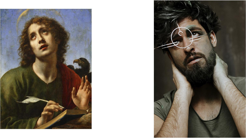 Original:  Carlo Dolci   Saint John the Evangelist Writing the Book of Revelation  ca. 1650