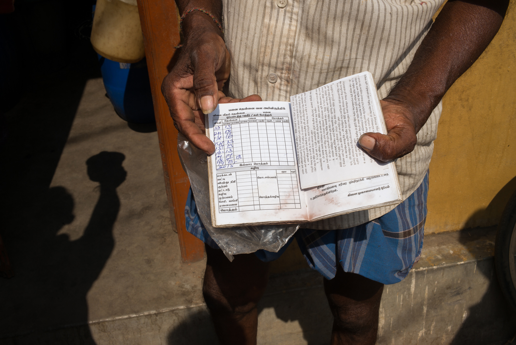 Toddy tappers face a host of government regulations. Here, a tapper shows his logbook in which they record the amounts they gather. Tappers can get between 5 to 50 bottles a day, earning 70 rupees (€0.35) per bottle - from which they have to pay fees to the owners of the trees they tap.