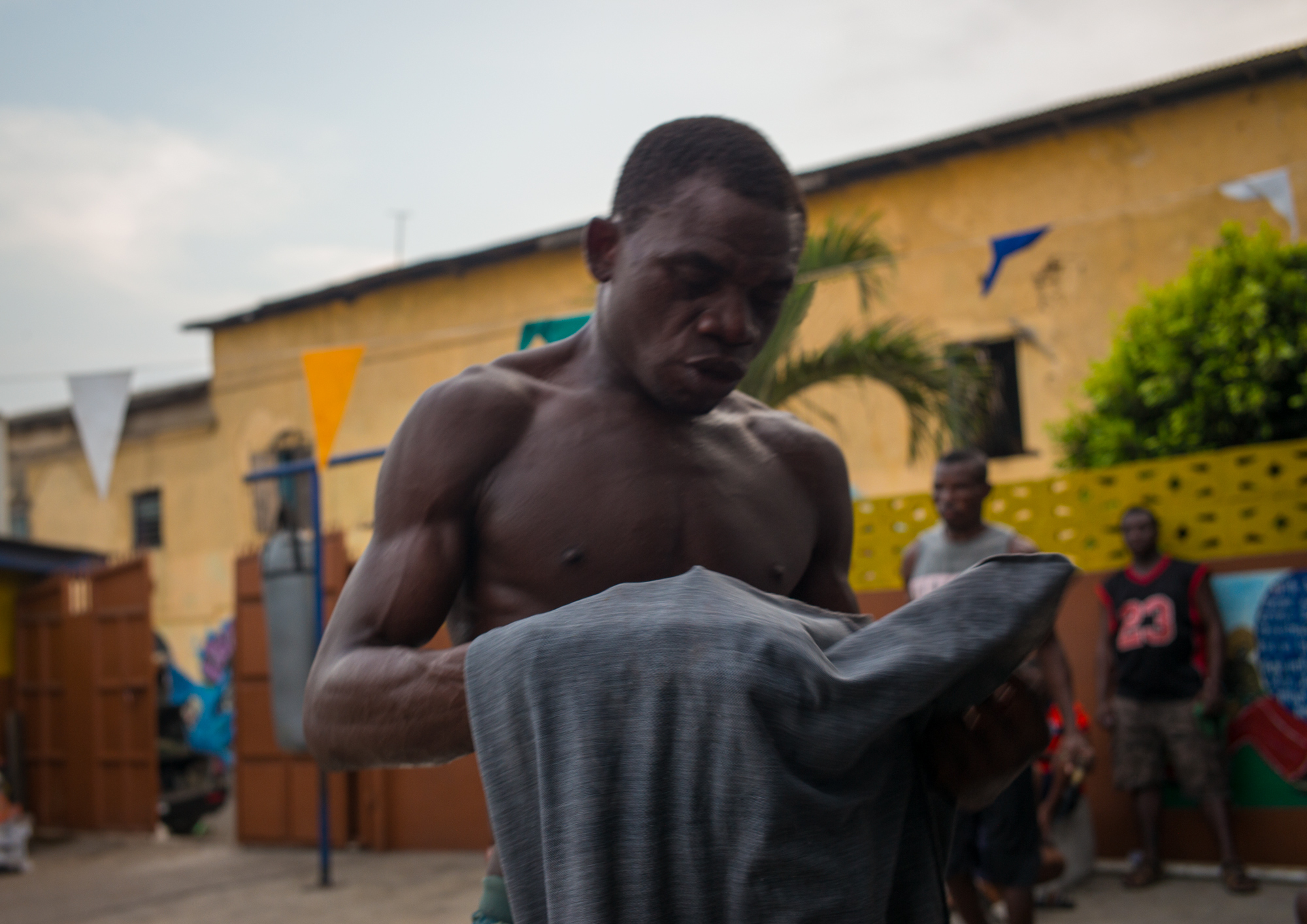 Joseph Lamptey, 36, training at the Black Panthers Gym for a fight that he won on December 26th, 2018 - James Town