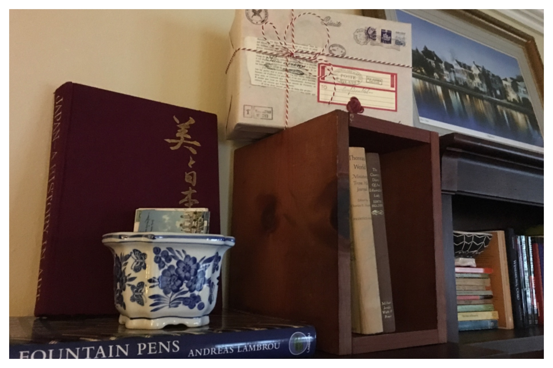 Decorative storage boxes can be used around the house. I like to decorate my letter boxes to look like vintage parcels and display them in my library.