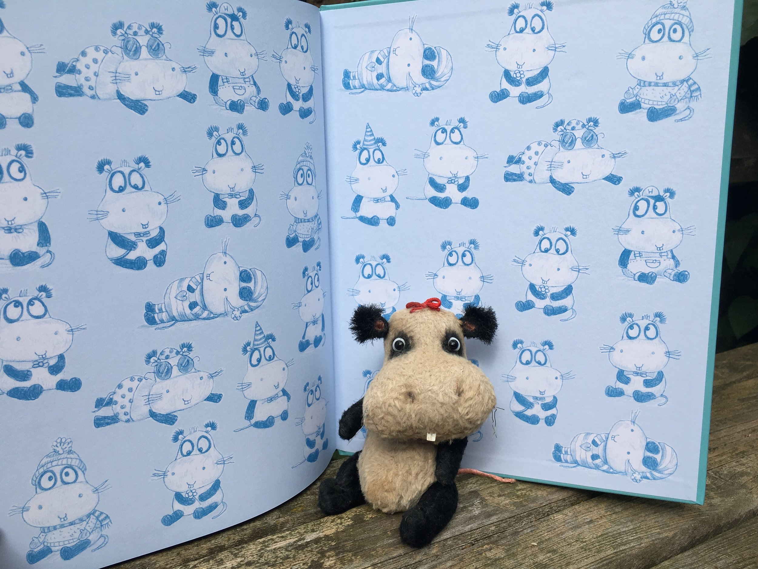 Endpapers for  The Hippopandamouse  .  Toy Hippopandamouse made by Olga Skavysh.