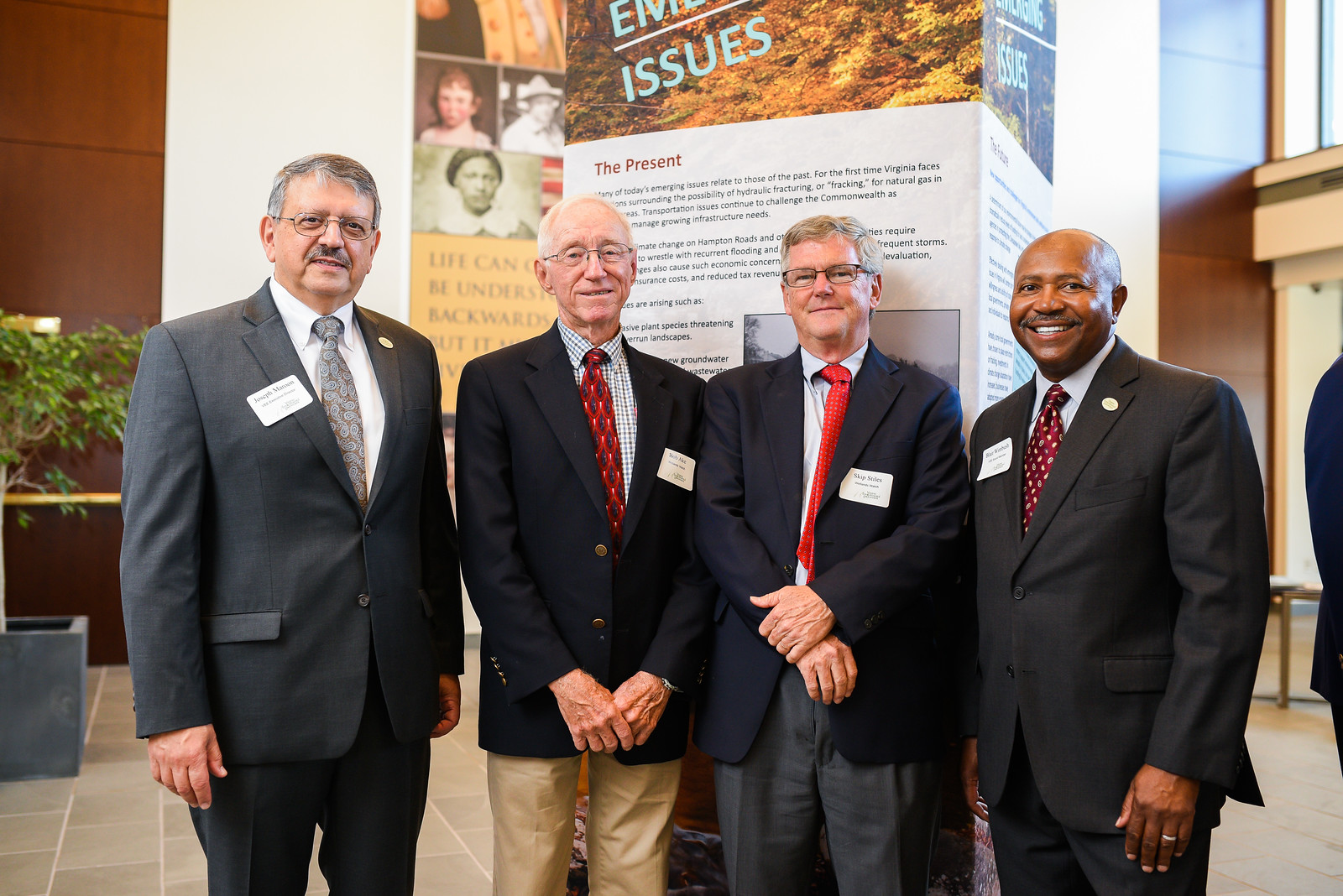 L-R: Joe Maroon, Executive Director, Virginia Environmental Endowment; Bob Ake, Board Chair, Wetlands Watch; Skip Stiles, Executive Director, Wetlands Watch; Blair Wimbush, Board Member, Virginia Environmental Endowment.