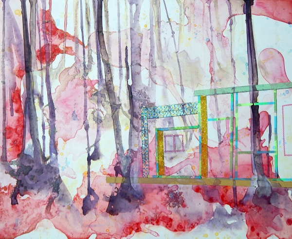 Ginnie Baer   Little House in the Big Woods (2015)   water from Shell Lake (WI), ink, washout tape, and glitter on wood panel   24x30