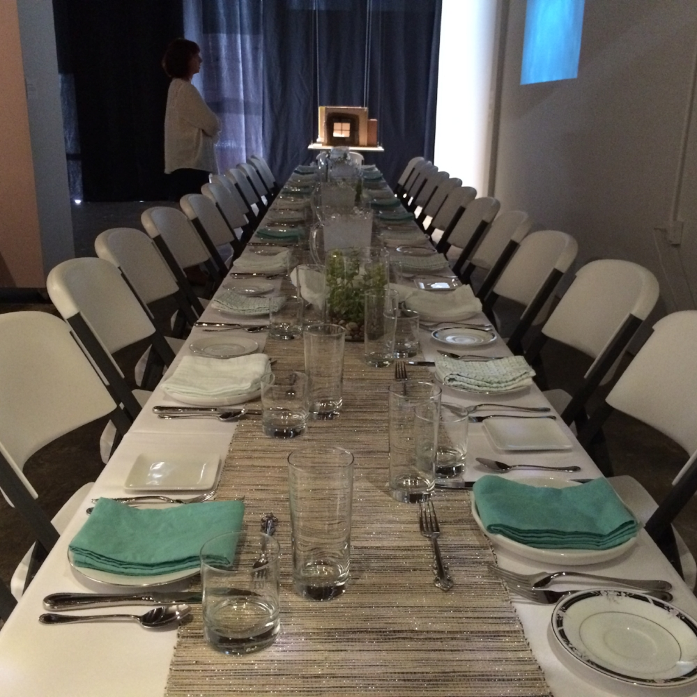 TABLE IS SET FOR OUR FIRST ARTIST+CHEF DINNER