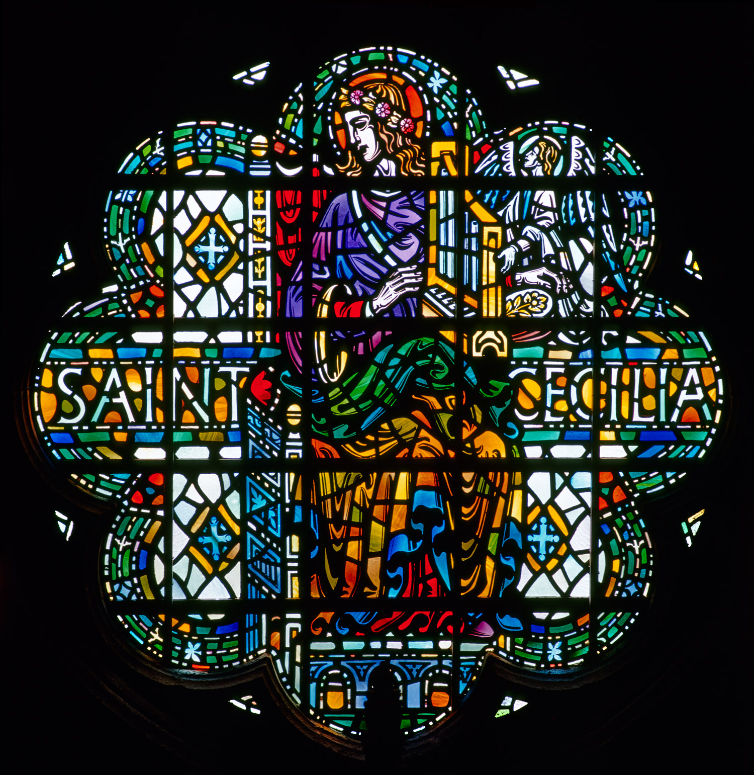 St Cecilia, Musicians' window, Liverpool Cathedral