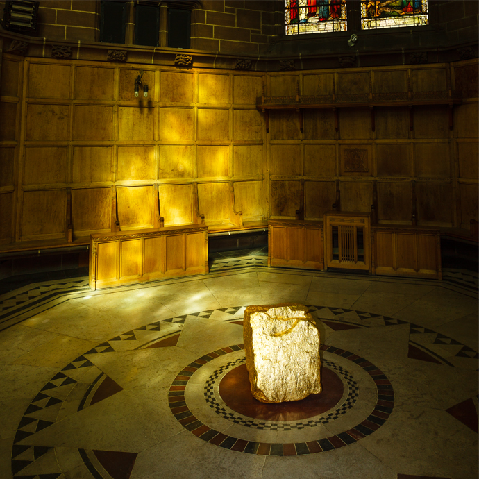 Gilded sandstone block on the floor of the Chapter House