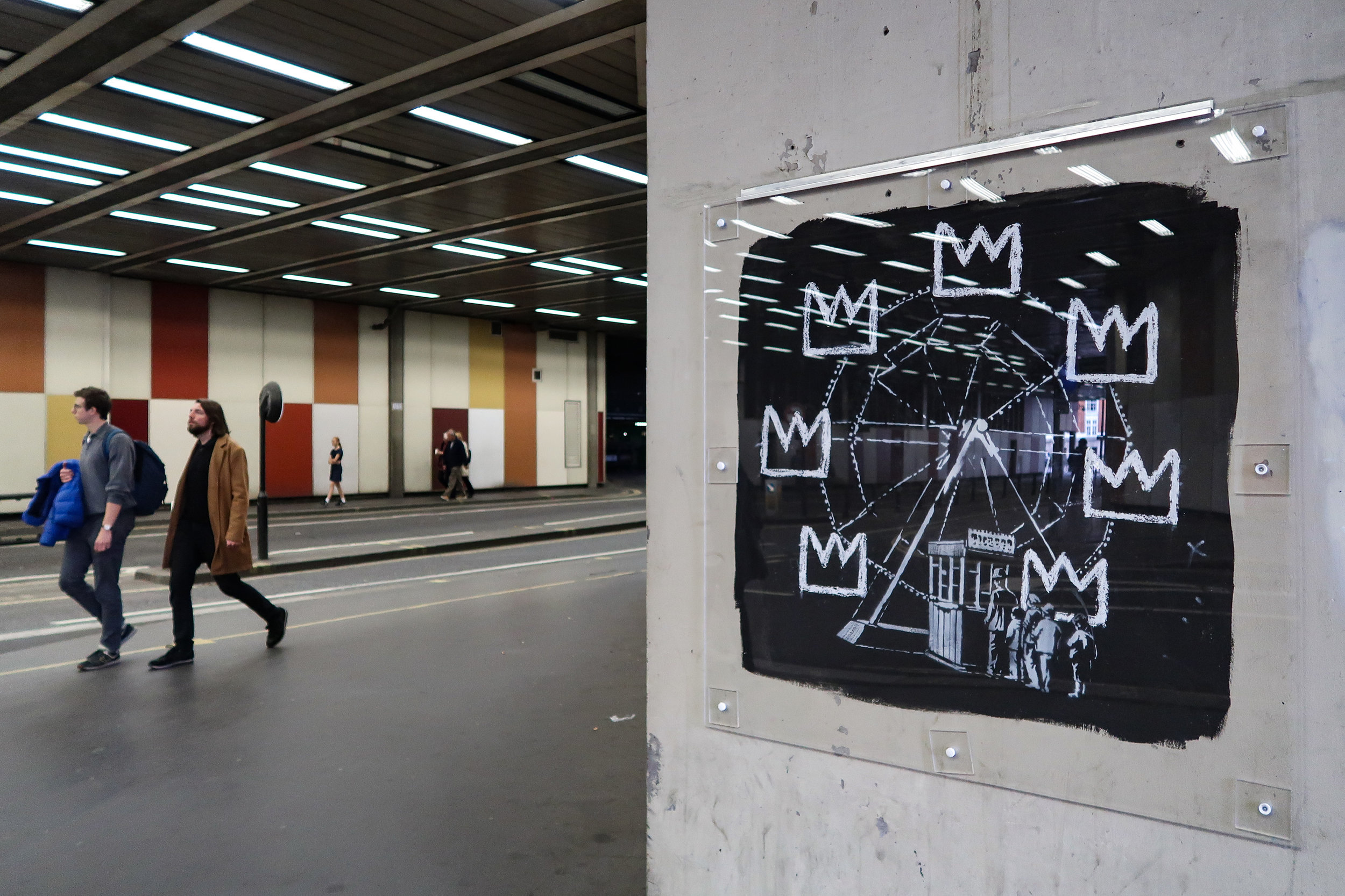Banksy at the Barbican, referring to the first Basquiat exhibition in the UK