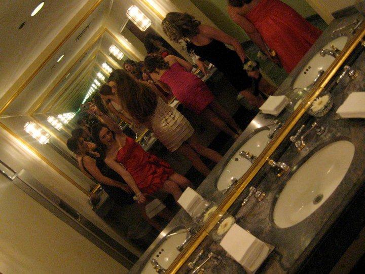 In the GIRLS bathroom