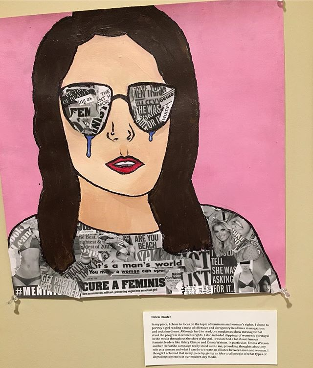 "Check out this beautiful feminist artwork by 9th grader Helen Onufer! ""In my piece, I chose to focus on the topic of feminism and women's rights.  I chose to portray a girl reading a mess of offensive and derogatory headlines in magazines and social mediums."" @helenonufer #womennotobjects #art #feminisim #equality #media"