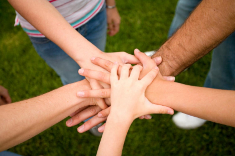 family teamwork hands