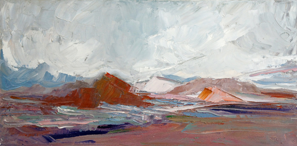 End of Day Color, 10x20, Oil on Canvas