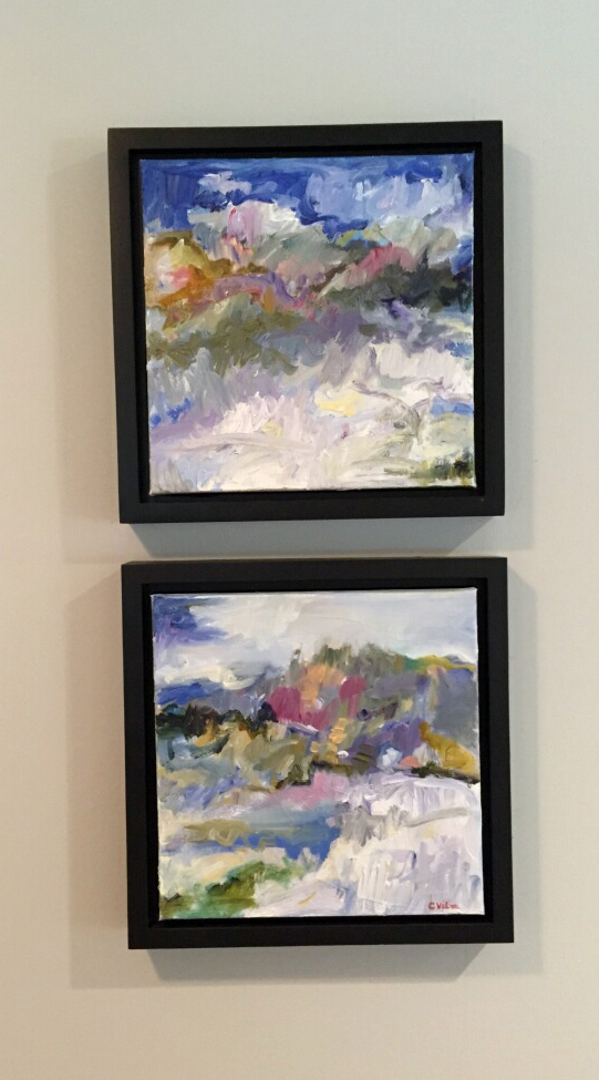 12x12, Two Abstract Landscapes, Oil on Canvas