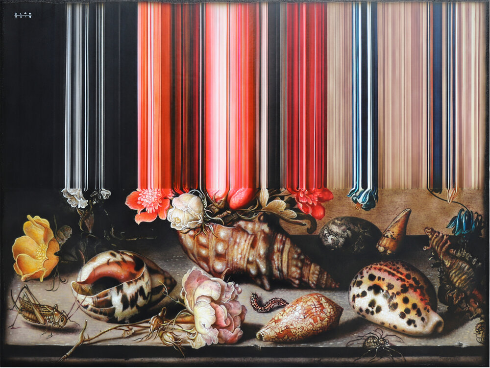 """""""Still Life of Flowers, Shells and Insects"""" (2019), acrylic on canvas, 76.2 x 101.6 cm. All images courtesy of the artist, the Working Animals Art Projects and Yavuz Gallery"""