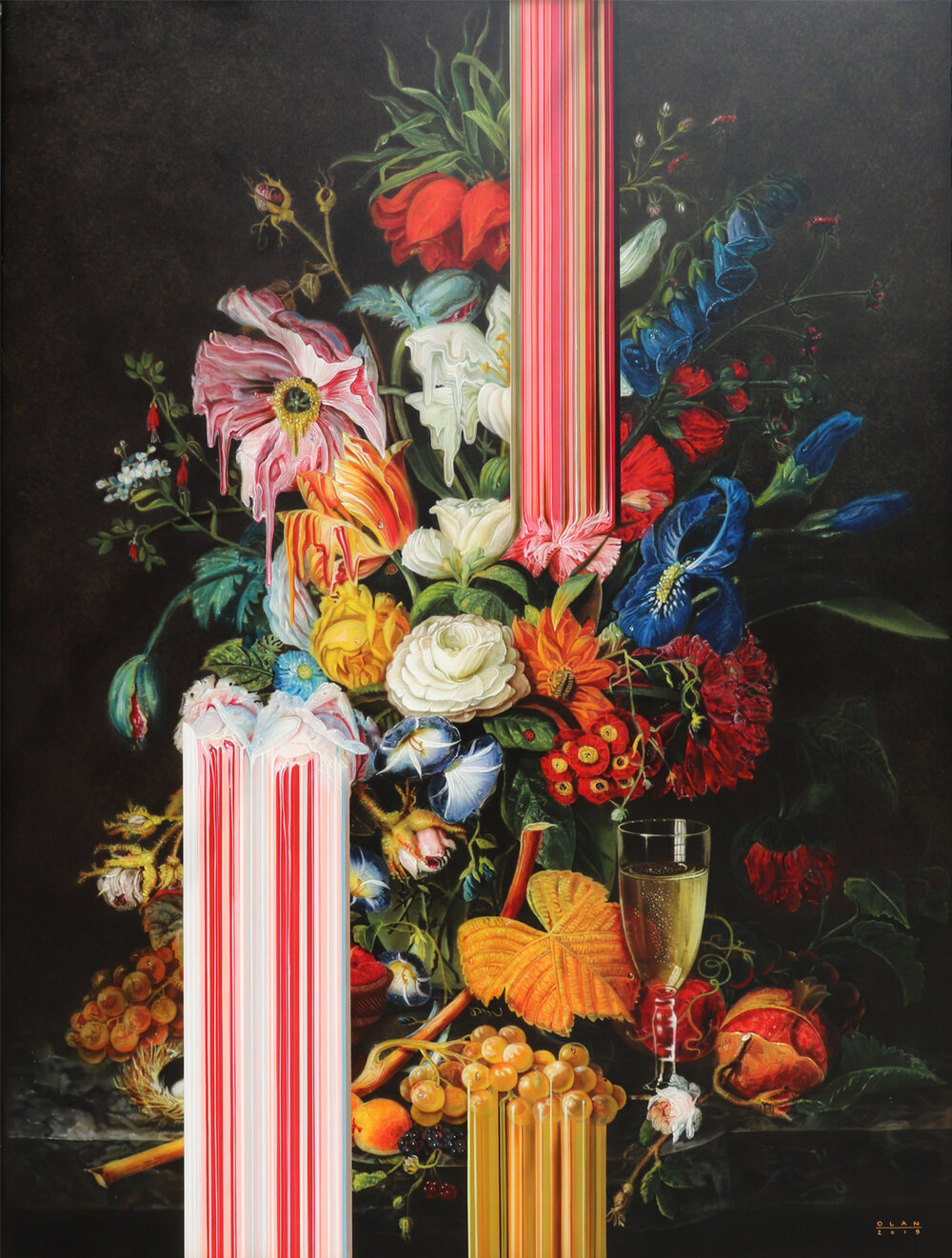 """Abundant Bouquet with Pomegranate"" (2019), acrylic on canvas, 162.5 x 121.9 cm"