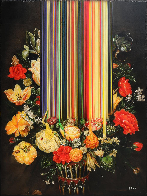 """Still Life of Flowers"" (2019), acrylic on canvas, 101.6 x 76.2 cm"