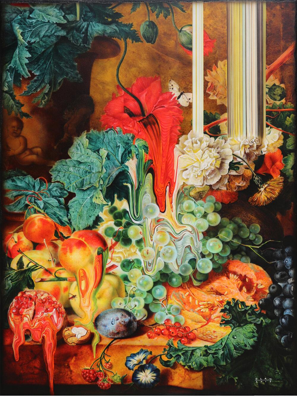 """""""Fruit Still Life"""" (2019), acrylic on canvas, 101.6 x 76.2 cm"""